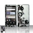 Hard Plastic Rubber Feel Design Case for Motorola Droid 2 A955 - Silver and Black Vines