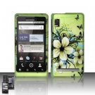 Hard Plastic Rubber Feel Design Case for Motorola Droid 2 A955 - Green Butterfly and Flowers