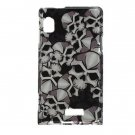 Hard Plastic Design Case for Motorola Droid 2 A955 - Black Skulls
