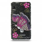 Hard Plastic Bling Rhinestone Design Case for Motorola Droid 2 A955 - Black Rainbow Butterfly