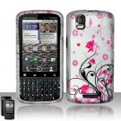 Hard Plastic Rubber Feel Design Case for Motorola Droid Pro T610 - Silver and Pink Flowers