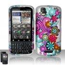 Hard Plastic Rubber Feel Design Case for Motorola Droid Pro T610 - Purple and Blue Flowers