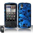 Hard Plastic Rubber Feel Design Case for Motorola Droid Pro T610 - Blue Skulls