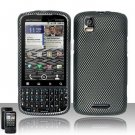 Hard Plastic Rubber Feel Design Case for Motorola Droid Pro T610 - Carbon Fiber