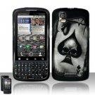 Hard Plastic Rubber Feel Design Case for Motorola Droid Pro T610 - Ace of Spade Skull