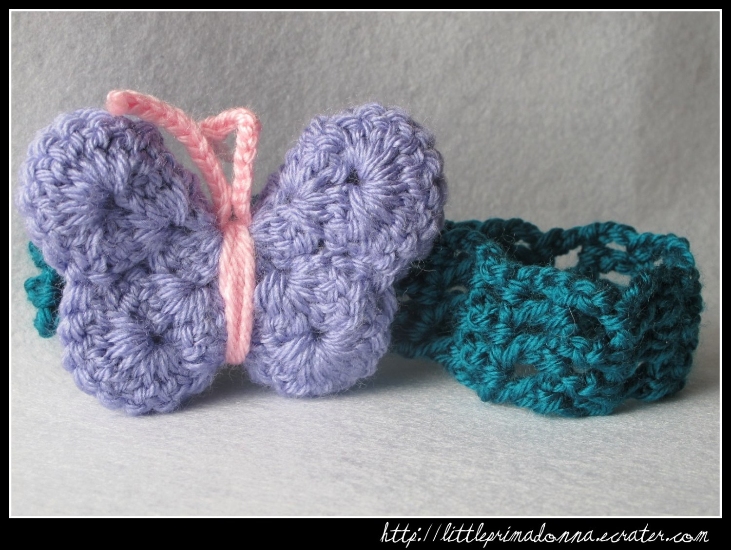 Crocheted headband with purple butterfly - for newborn