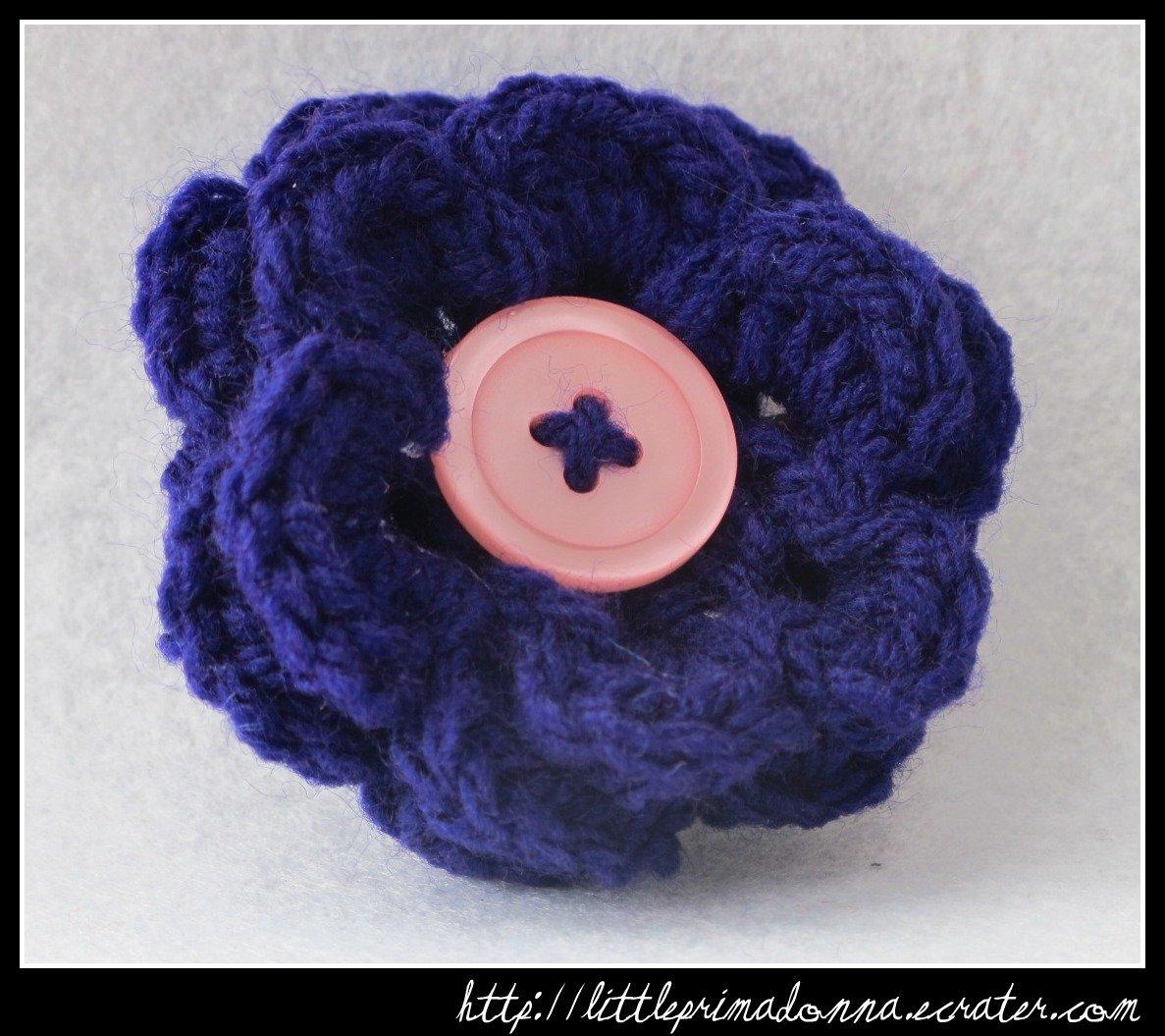 Crocheted flower clip - dark purple
