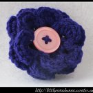 Crocheted flower clip - dark purple