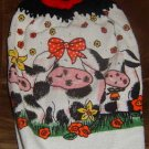 3 cows crochet top kitchen towel