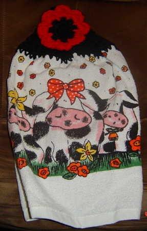 3 cows crochet top kitchen towel