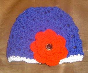 Patriotic Big Rose Blue Flapper Beanie Hat