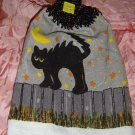 HALLOWEEN BLACK CAT ON FENCE Crochet top kitchen towel