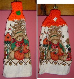 FALL BEAR CROCHET TOPPED KITCHEN TOWEL
