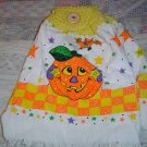 SMILING PUMPKIN CROCHET TOPPED KITCHEN TOWEL