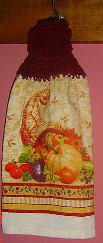 BUTTONLESS crochet Fall CORNUCOPIA towel