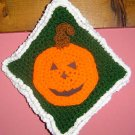 HALLOWEEN PUMPKIN Crochet Kitchen green Potholder