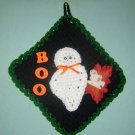 HALLOWEEN GHOST SQUARE BLACK POTHOLDER