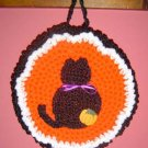 crochet Halloween BLACK CAT POTHOLDER pot holder
