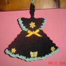 CROCHETED DRESS Kitchen Potholder hot pad or wall deco
