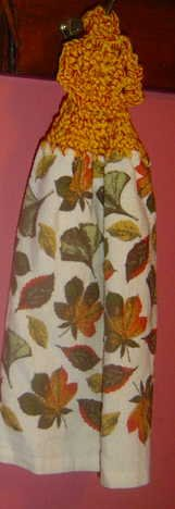 BUTTONLESS crochet Fall leaves towel