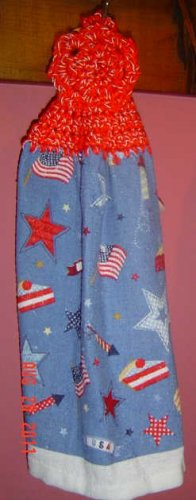 buttonless PATRIOTIC STARS AND FLAGS crochet top towel