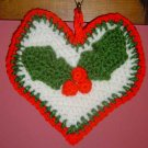 CHRISTMAS HEART HOLLY LEAVES POTHOLDER/WALLHANGING