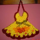 YELLOW FALL DRESS potholder or wallhanging