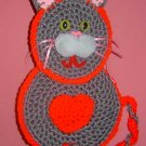 grey KITTY CAT crochet Potholder WALLHANGING
