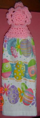 EASTER EGGS pink no button crochet top kitchen towel