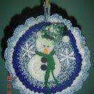 ROUND BLUE SNOWMAN POTHOLDER CHRISTMAS