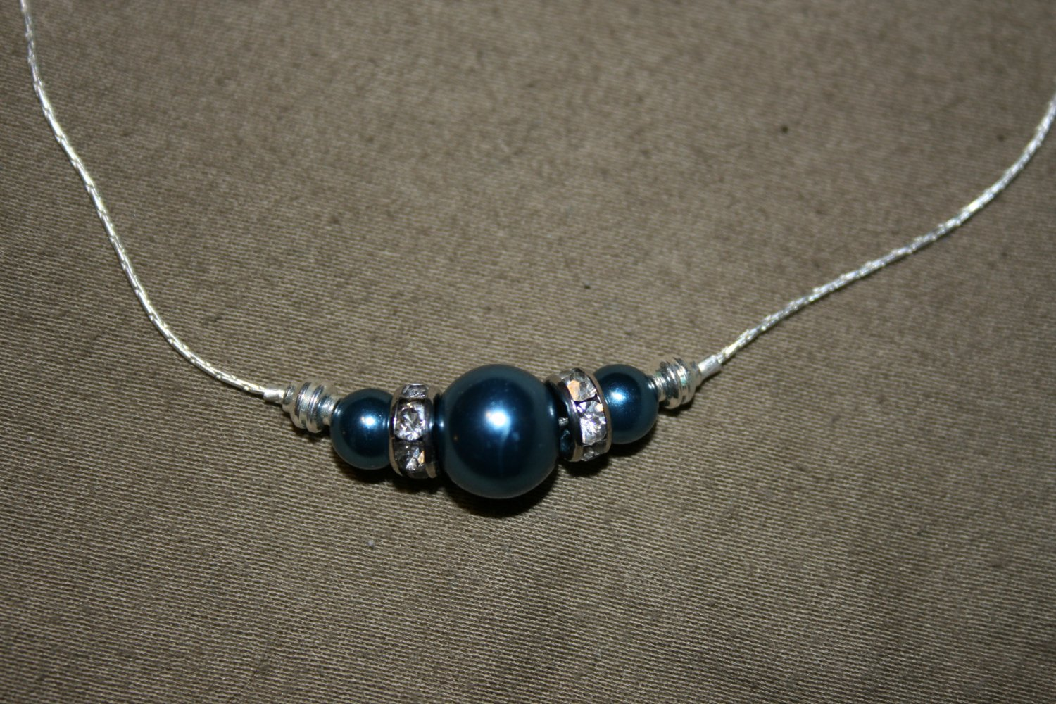 Blue Pearl Bead Necklace