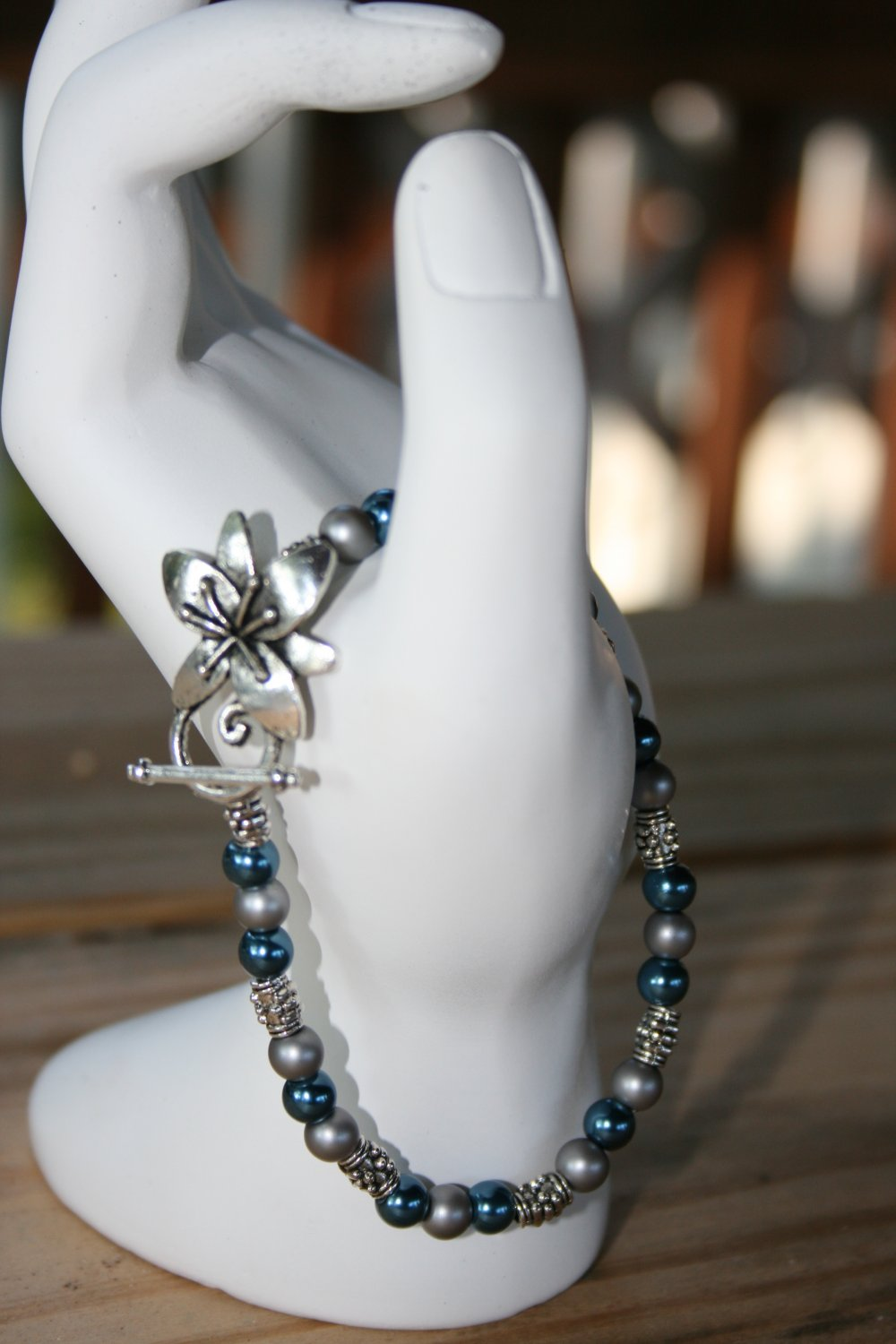 Blue and Silver Flower Clasp Bracelet
