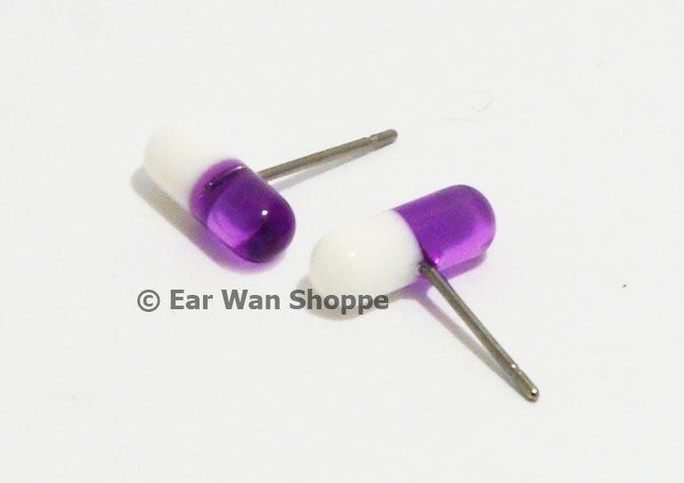 Korean Style Purple & White Stainless Steel Pill Earrings