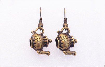 �Handmade Vintage Brass 3D Tea Pot Earrings�