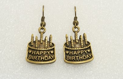 �Handmade Vintage Brass Birthday Cake Drop Earrings�