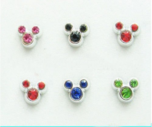 Sparkling Mickey Crystal Hypo Stud Earrings 2pairs