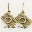 Handmade Vintage Brass Funky Camera Retro Earrings