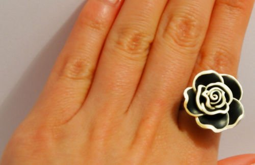 � Handmade Vintage Black Rose Flower Statement Ring�