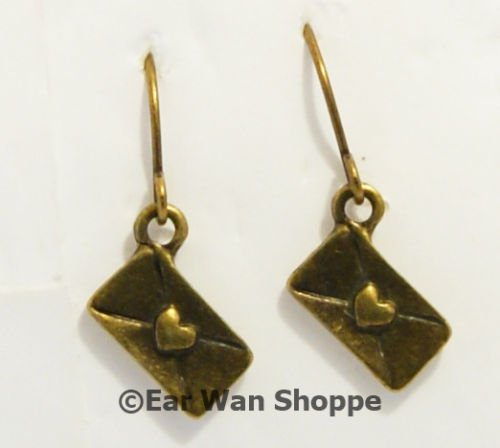 � Handmade Brass Vintage Love Letter Heart Earrings�