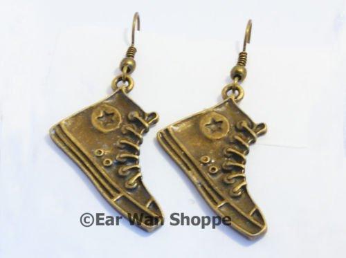 � Handmade Brass Converse Sneaker Star Drop Earrings�