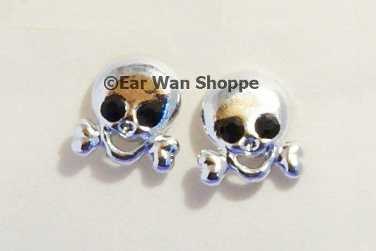 Gothic Silver Skull Cross Diamante Stud Earrings