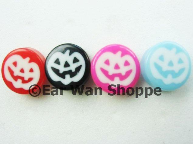 Vintage Kitsch Multi Colour Pumpkins Button Earrings