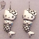 ♥Hello Kitty Mermaid Silver Tibetan Drop Earrings♥