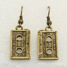 Vintage Brass Classic Cassette Tape Retro Drop Earrings