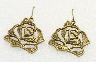 �Handmade Vintage Brass Rose Drop Earrings�