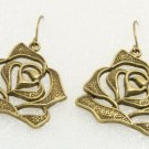 ♥Handmade Vintage Brass Rose Drop Earrings♥