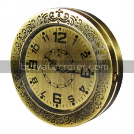 Stylish Metal Clock with Camera + Motion Sensor (HD)