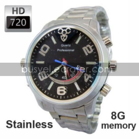 8G 720P HD Waterproof Motion-Activated Spy Watch Cameras Stainless Steel Casing, Hidden Camera