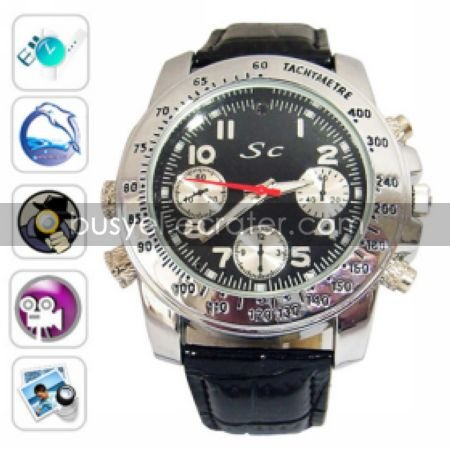 720P HD 1280x720 Waterproof Sport Watch DVR with 4G Memory, Stainless Steel Casing, Hidden Camera