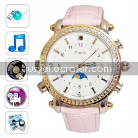 Fashion Design Watch Digital Video Recorder with MP3 Player, 4G Memory Included, Hidden Camera
